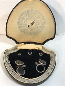 Vintage Krementz Cufflinks Tux Studs Black Onyx With Silver Trim Set