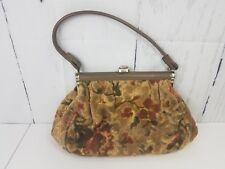 Floral Carpet Frame Bag Purse Tan Green Chenille Vintage Handbag Tapestry Tote