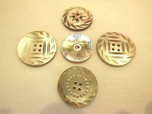 5 VTG ASSORTED CARVED IRIDESCENT MOP MOTHER OF PEARL SHELL BUTTONS! GORGEOUS!
