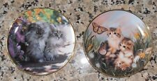 Set Of 2 Franklin Mint Cat Collector Plates: Sitty Pretty + Chasing Butterflies