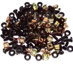 """PACK OF 50 BLACK HIFI AUDIO RACK MOUNT M6 CAGE NUTS BOLTS WASHERS FOR 19"""" RACKS"""