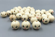 20PCS Wooden Round Painted Smile Face Loose Beads CRAFT BEADS 14mm
