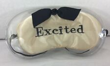 Mud Pie Embroidered Khaki Satin Eye Sleep Mask Bridal Shower / Stocking Stuffer