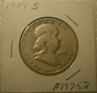 1951 S FRANKLIN 90% SILVER HALF DOLLAR  CIRCULATED COIN #19753