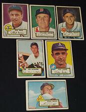 1952 - TOPPS - MLB - BASEBALL CARDS (6) - SUDER, MASI, BILKO, NIXON, TRUCKS, ...
