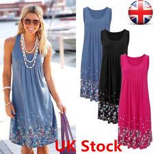 UK Womens Summer Beach Dress Ladies Holiday Sleeveless Long Loose Mini Dresses