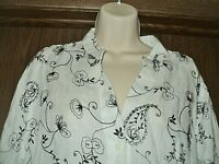 LUCY & LAUREL 1X ANTHROPOLOGIE WOMENS LINEN EMBROIDERED BUTTON DOWN SHIRT TUNIC
