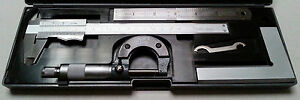 4 Piece Imperial Engineers Measuring Set ~ Caliper + Micrometer + Ruler + Square