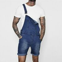 Mens Suspender Jean Shorts Casual Denim Pants Overalls Jumpsuits Rompers Fashion