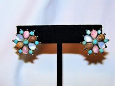 Estate Barse Natural Rhodochrosite MOP Turquoise Jasper 925 Sterling Earrings
