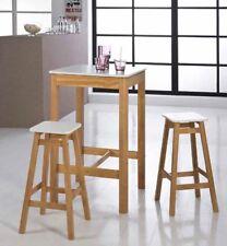 Premium Massivholz Bar Set Pinie, Honig gewachst + Weiß Bartisch + 2 Barhocker