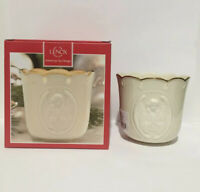 Lenox Angelic Visions Prayer Angel Votive Candle Holder Ivory w/ Gold Trim