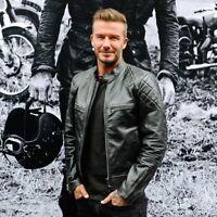 David Beckham Black Motorcycle Leather Jacket- All Sizes Available