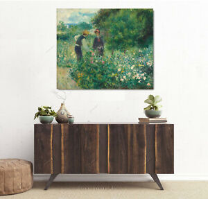 Auguste Renoir Picking Flowers Oil Painting Hand-Painted Textured Canvas 24x30