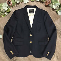 J Crew Womens Schoolboy Blazer Jacket Suit Coat 6 8 Wool Navy Blue Gold Buttons
