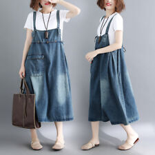 Womens Casual Loose Denim Overall Dress Jean Bib Suspender Skirt Baggy Plus Size