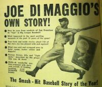 1942 🔥JOE DIMAGGIO🔥 Original Magazine Ad LUCKY TO BE A YANKEE New York Yankees