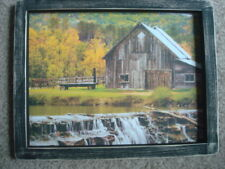 """Primitive Country Print ~BARN with WATERFALL~  black frame  9 1/4 """" x 11 3/4"""""""