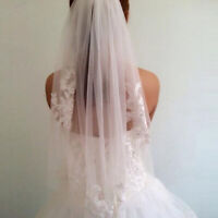 Lace short Wedding Veil 1T Ivory / white Tulle Elbow Bridal veil + Comb NEW DL5