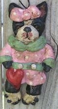 Folk Art  Boston Terrier Dog Girl Adorable Vintage New Style Ornament Ooak