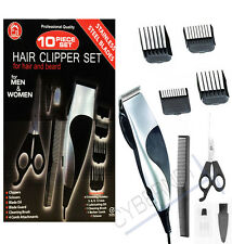 10PC PROFESSIONAL GENTS MENS HAIR CUTTING CLIPPER TRIMMER SHAVER GROOMING SET