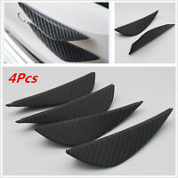 4X Carbon Fiber Style Car Front Bumper Fins Lip Kit Canards Splitters Trims New