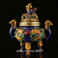 China Bornze Cloisonne Enamel Dynasty Palace Dragon Loong Incense Burner Censer