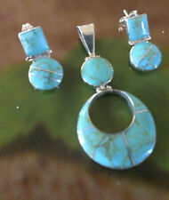 Taxco turquoise blue 925 Sterling Silver  earring and Pendant Sets only