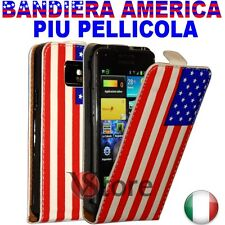 Case Flip For Samsung Galaxy S2 i9100 Leather Flag America + Film