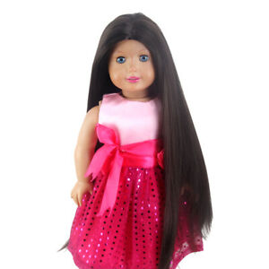 Straight Long Doll Wig for 18inch Girl Dolls Dark Brown Synthetic Hair Girl Gift