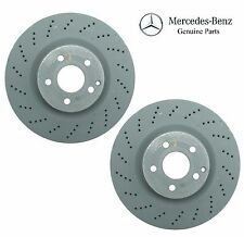 For Mercedes W212 Pair Set of 2 Front Disc Brake Rotors Vented Cross Drilled OES