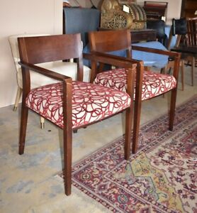 Pair of Mid Century Style Wood Arm Chairs, by Dellarobbia