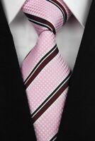 Tie Necktie Pink Red Striped Classic 100% Silk Jacquard Woven Mens Ties Neckties
