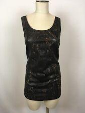 zero maria cornejo Womens Perforated Black 100% LambSkin Top/Dress Sz 6 A1221