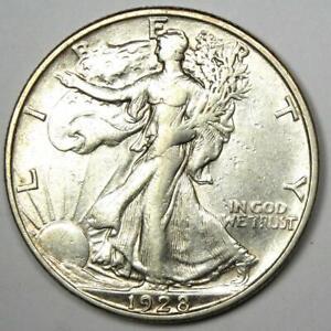 1928-S Walking Liberty Half Dollar 50C - XF / AU Details - Rare Date Coin!