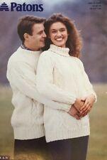 "Patons Aran Knitting Pattern 2345Ladies Mens Jumper Sweater Size 32/46"" Chest"
