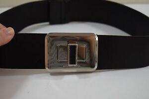 Michael Kors Women's Black Leather Silver Turn lock Buckle Belt Small