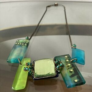 Lalo Orna Resin Necklace Gorgeous  Blue & Green Bead Claw Closure VTG Statement