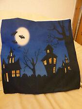 "Gothic Cushion Cover, 18""x18"", Tim Burton style houses, trees, bats, blue"