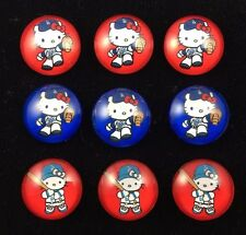 HELLO KITTY LA DODGERS 20mm GLASS DOME FLATBACK CABOCHON EMBELLISHMENTS 9 pcs