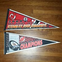 Vintage 2000 and 1995 Stanley Cup Champions New Jersey Devils Pennants