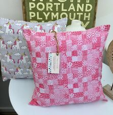CUSHION COVER PINK WHITE PATCHWORK SQUARES HEARTS FLOWERS SHABBY CHIC NURSERY 16