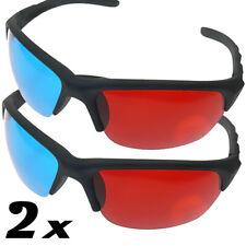 2x 3D Brille für TV Kino und Film sportliches Design rot blau 3D Glasses