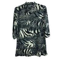 Susan Graver Women's Size S Liquid Knit Animal Print Tunic Embellished A203180