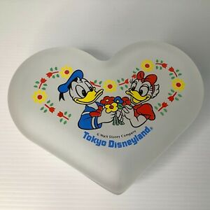 Tokyo Disneyland Donald and Daffy Duck Frosted Glass Heart Trinket Dish With Lid