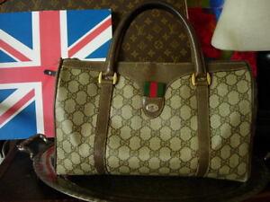 Auth Vintage GUCCI Brown GG Speedy W/ Red Green Web Tote Bag Purse Handbag GG