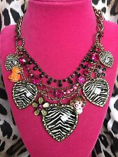 Betsey Johnson Vintage Safari Monkey Zebra Lucite Heart Hippo Jungle Necklace