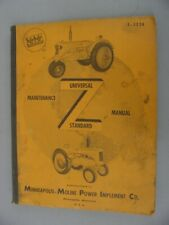 "Minneapolis Moline ""Z"" Universal & Standard Tractor Maintenance Manual"