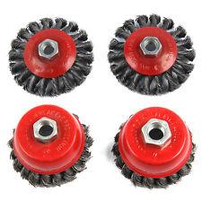 4pcs Twist Knot Semi Flat Wire Wheel Cup Brush Set Kits For 115mm Angle Sets UK
