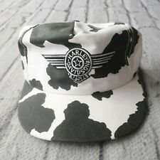 Vintage 80s Harley Davidson Cow Print Snapback Hat Cap Made in USA